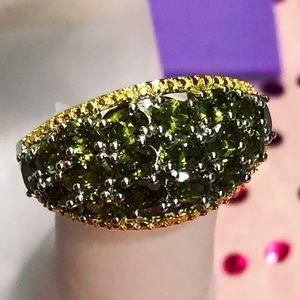 Simulated Peridot Diamond ION Plated 18K YG Ring